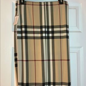 White burgundy and tan plaid pencil skirt